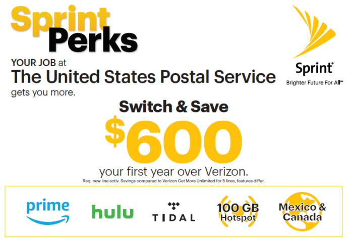Sprint Perks for USPS Employees