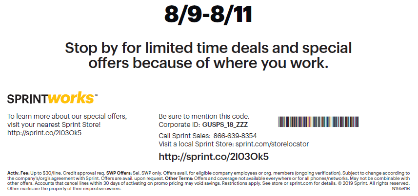 Sprint August Deals for USPS Employees