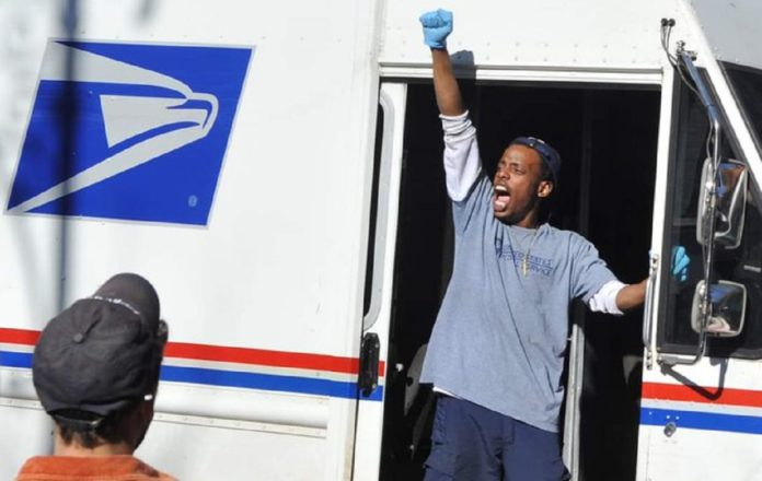postal workers celebrate election