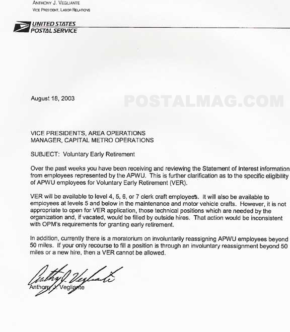 Postal Early Out Information